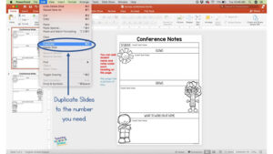 screen shot to show how to duplicate PowerPoint Slides