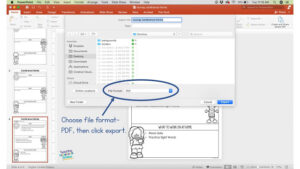screenshot to demonstrate how to export a PowerPoint to a PDF