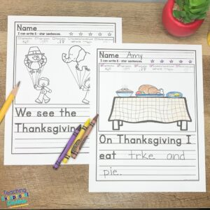 Thanksgiving  picture writing prompts with sentence starters showing a parade and kitchen table.