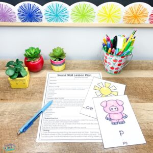 sound wall lesson plan template page and sound cards for p and s with teacher themed succlents
