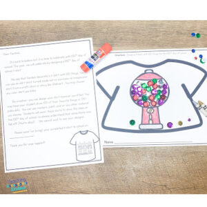 paper with letter explaining with 100th day tshirt project and an example tshirt with a bubble gum machine on it